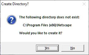"""Create install directory?"" prompt"